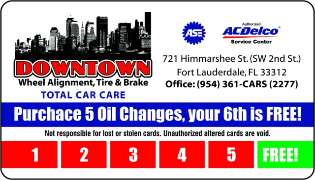 Downtown Auto OIL CHANGE CARD 6-15